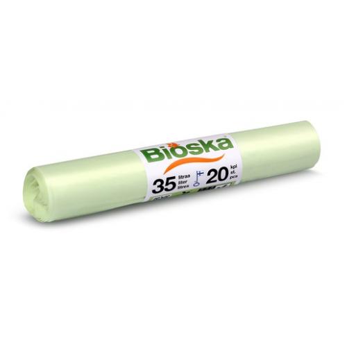 BIOSKA 35l jätepussi valkoinen 20kpl/rll