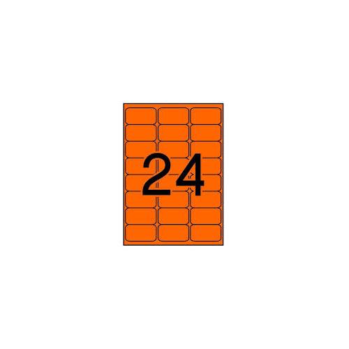 APLI tulostustarra neonoranssi 24-jak 64x33,9mm