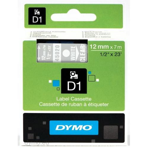 Dymo D1, 12mmx7m kirkas pohja/valkoinen teksti tarranauha 45020