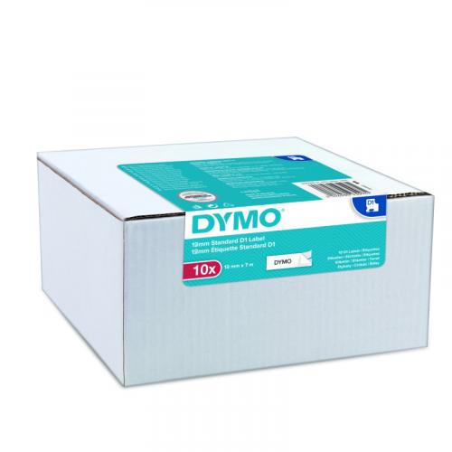 Dymo D1 multipack (10kpl) 12mmx7m valkoinen pohja/musta teksti tarranauha 45013