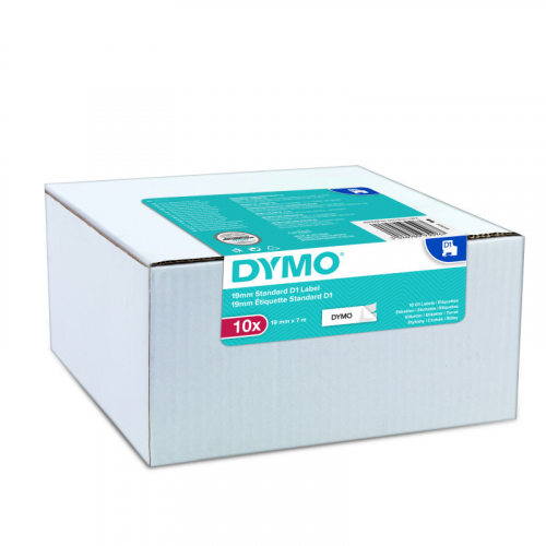 Dymo D1 multipack (10kpl) 9mmx7m valkoinen pohja/musta teksti tarranauha