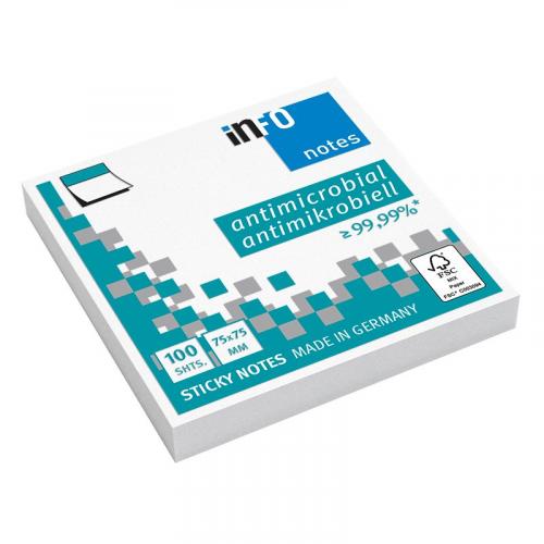 INFONOTES Hygienic 75 x 75 mm valkoinen viestilappu