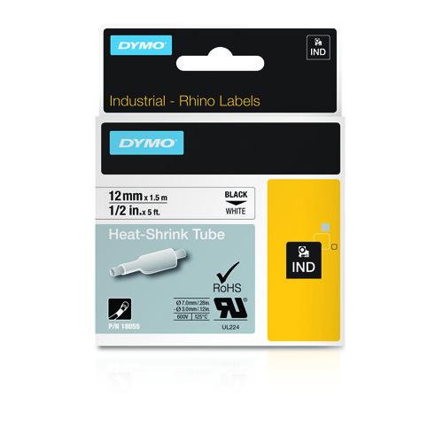 DYMO Rhino 12mm musta teksti valkoinen pohja kutistesukka