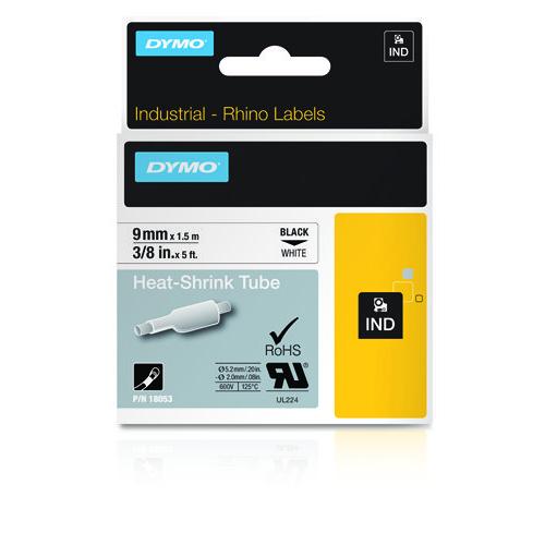 DYMO Rhino 9mm musta teksti valkoinen pohja kutistesukka