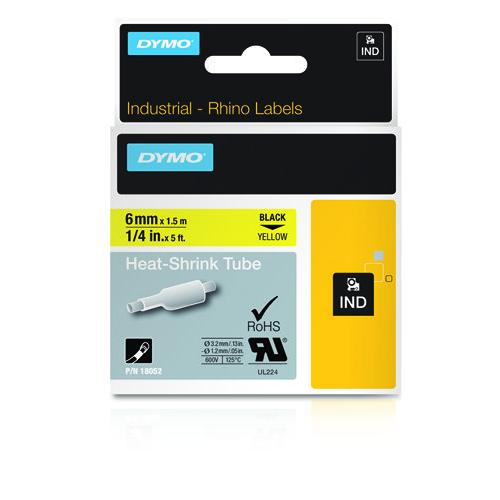 DYMO Rhino 6mm musta teksti keltainen pohja kutistesukka