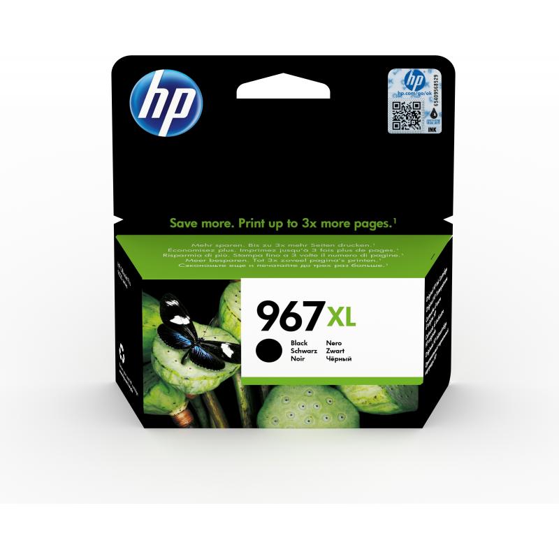 HP 967XL Extra High Yeld Black Ink, riittoisuus jopa 3000 sivua