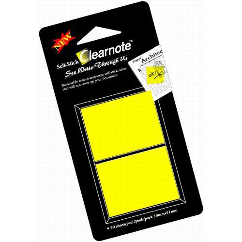 CLEARNOTE viestilappu, 38x50mm, läpinäkyvä keltainen