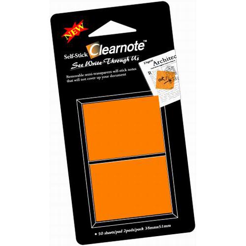 CLEARNOTE viestilappu, 38x50mm, läpinäkyvä oranssi