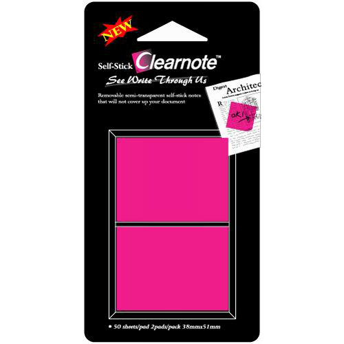 CLEARNOTE viestilappu, 38x50mm, läpinäkyvä pinkki