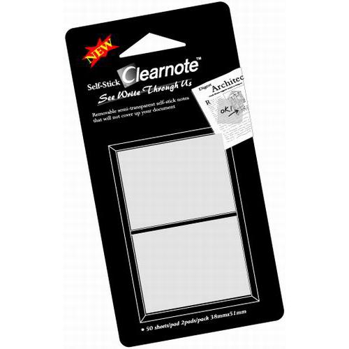 CLEARNOTE viestilappu, 38x50mm, läpinäkyvä