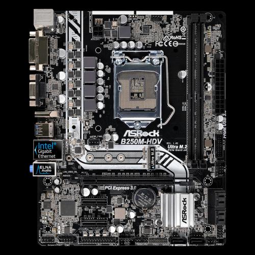 ASROCK B250M-HDV LGA1151 mATX 2xDDR4 DIMM max 32GB 1xPCI-Ex16 2xPCI-Ex1 2xFront 4xRear USB3
