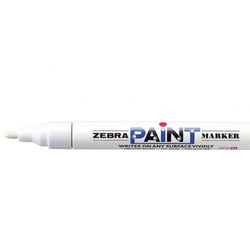 Zebra maalikynä valkoinen, pyöreä kärki 2mm (10kpl/pkt)