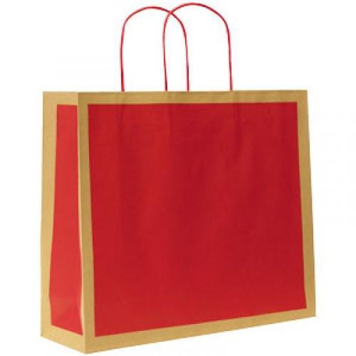 Paperikassi Ecology Chili punainen nyörikahvat 420x130x370