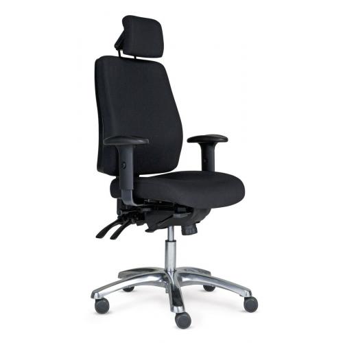 PRO 40 tuoli musta, korkea selkänoja, käsinojat, niskatuki