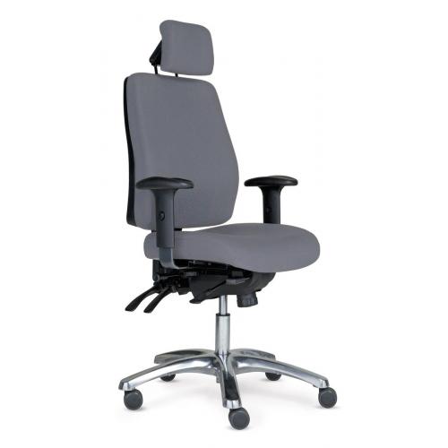 PRO 40 tuoli harmaa, korkea selkänoja, käsinojat, niskatuki