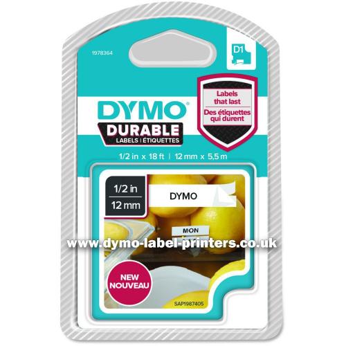 Dymo Durable D1, 12mmx5,5m valkoinen pohja/musta teksti kestotarra