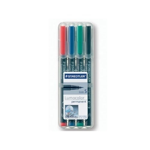 Staedtler 313 S 4-värin sarja merkkauskynä 0.4mm permanent (punainen, sininen, vihreä, musta)