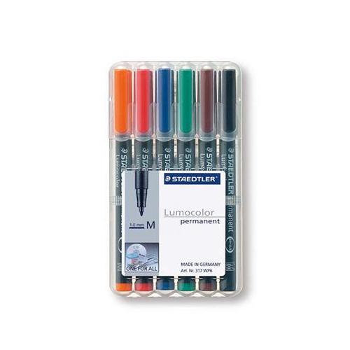 Staedtler 317 M 6-värinsarja merkkauskynä 1mm permanent (musta,ruskea.vihr.sin.pun.oranssi)