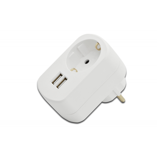 ednet USB Power Adaptor 3.1A, 2x USB Ports, SCHUKO pass-thru