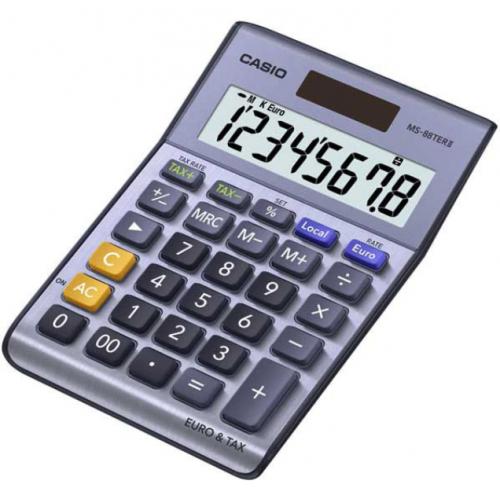 CASIO MS-88TERII pöytälaskin, 8-numeroinen, euro vero toiminnot (127036)