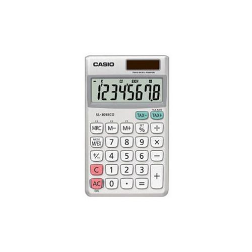 CASIO SL-305ECO valuutta vero 8-num. taskulaskin