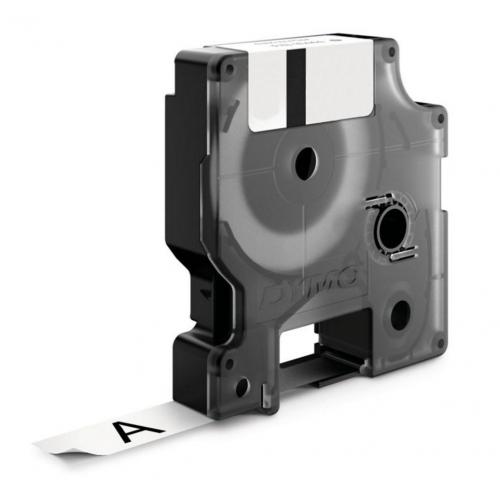 Dymo Rhino 12mm x5,5m metallihopea musta pysyvä polyesteriteippi (UK18761)