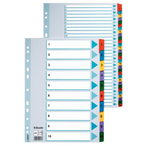 Esselte Mylar 1-20 muovikielihakemisto kartonki A4 värilliset muovikielekkeet (10srj/ltk)