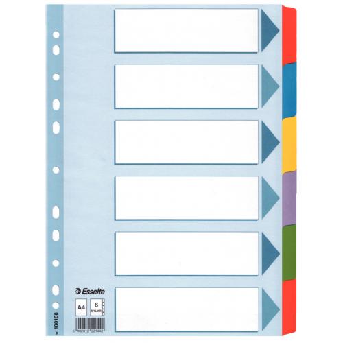 Esselte Mylar 6-os muovikielihakemisto kartonki A4 värilliset muovikielekkeet, blanco (10srj/ltk)