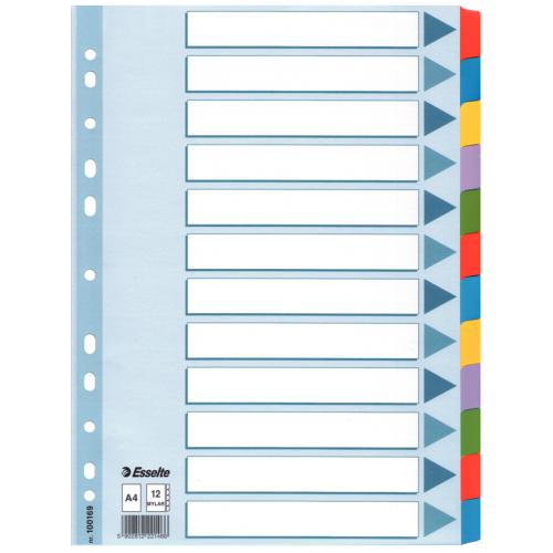 Esselte Mylar 12-os muovikielihakemisto kartonki A4 värilliset muovikielekkeet (10srj/ltk)