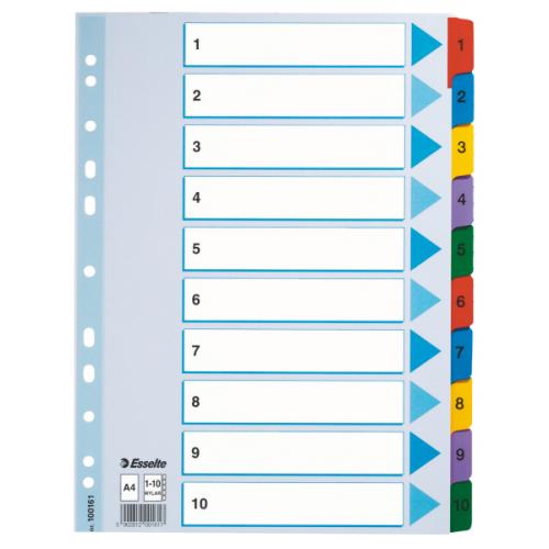 Esselte Mylar 1-10 muovikielihakemisto A4 kartonki värilliset muovikielekkeet (10srj ltk)