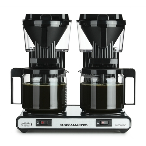Moccamaster tupla-kahvinkeitin teräs-musta, automaatti